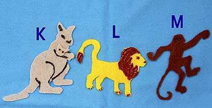 Alphabet animals felt or paper animals for flannel board or desk felt animals to learn to read publicscrutiny Gallery