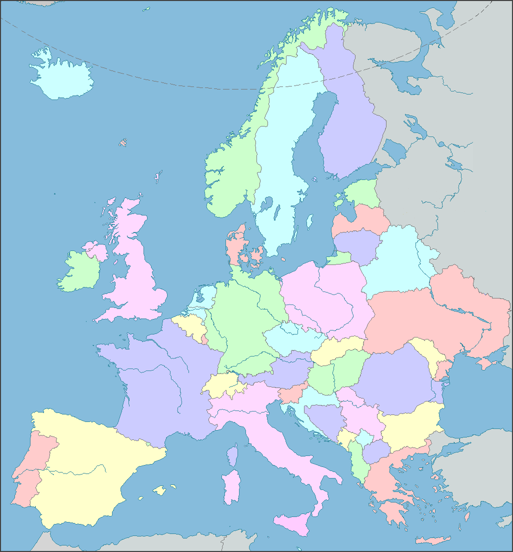 Interactive Map of Europe, Europe Map with Countries and Seas