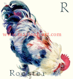 R - the 18th letter in the Animal Alphabet-is for Rooster