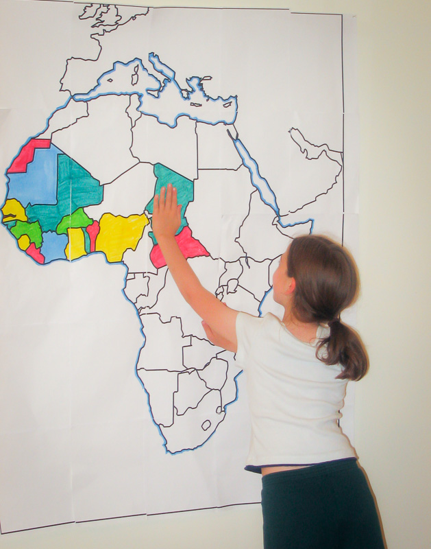Finding countries of Africa on a large