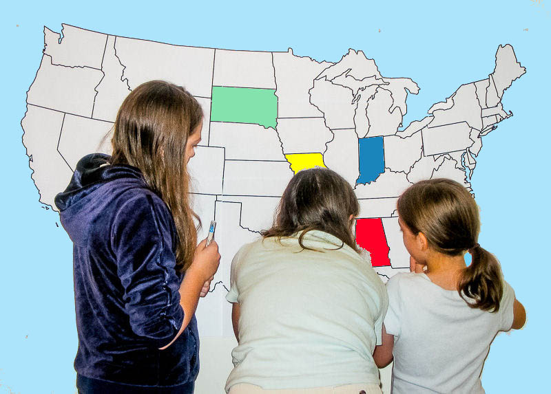 Finding States On A Large Wall Map Of The United States