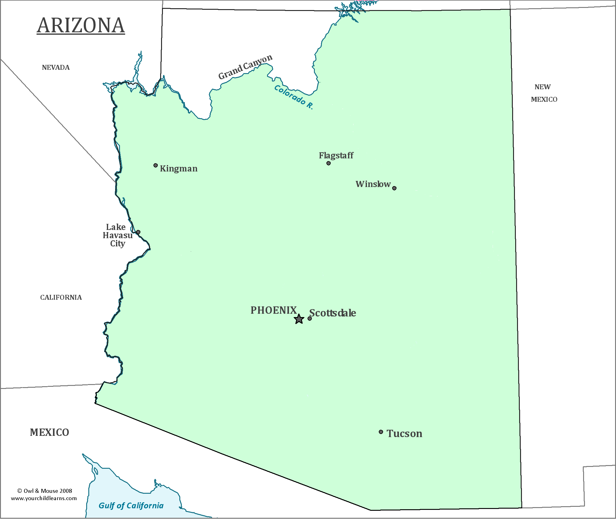 Map Of Arizona With Major Cities.Arizona State Map Map Of Arizona And Information About The State