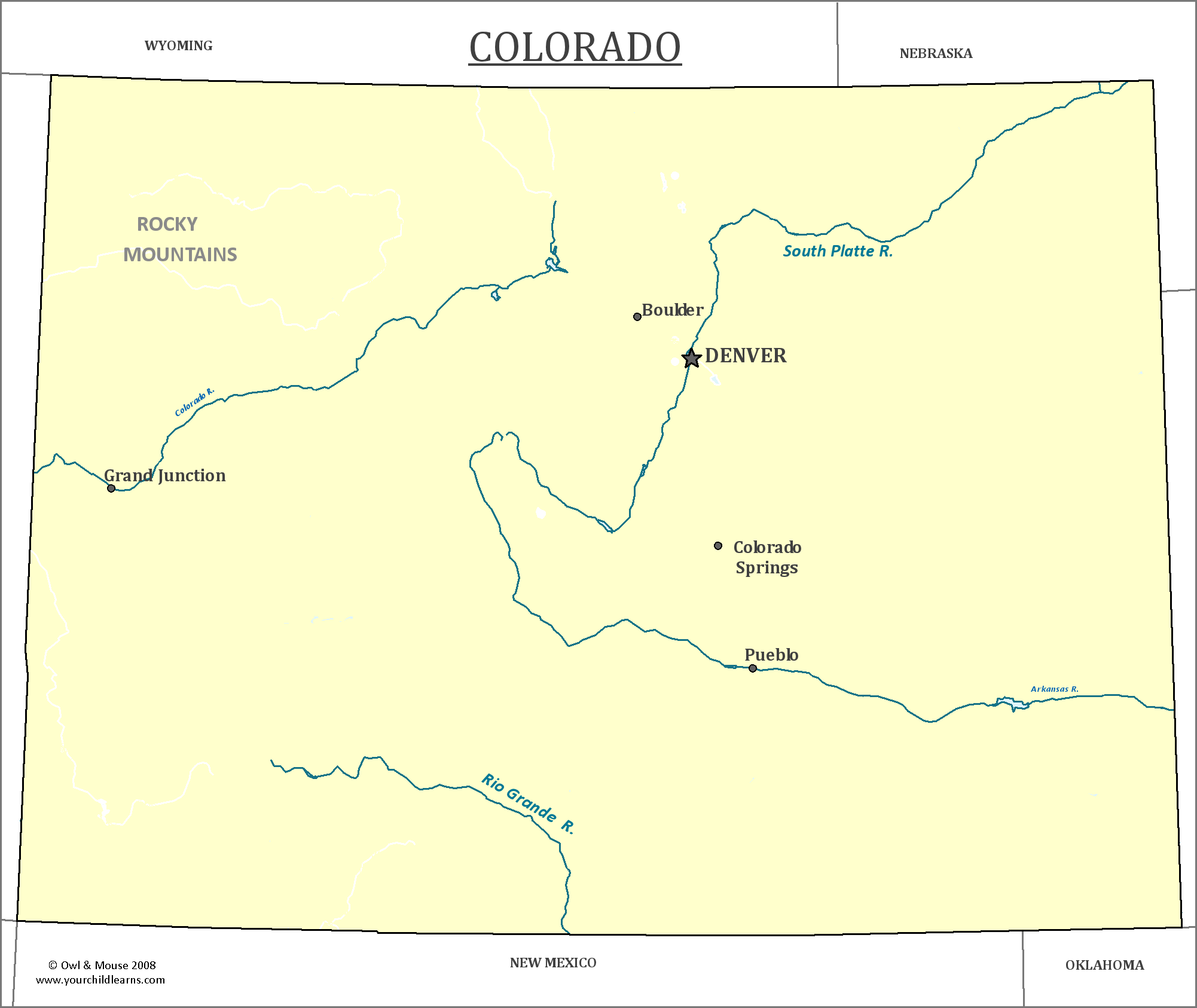 map of colorado major cities states and capitals. colorado state map  map of colorado and information about the state
