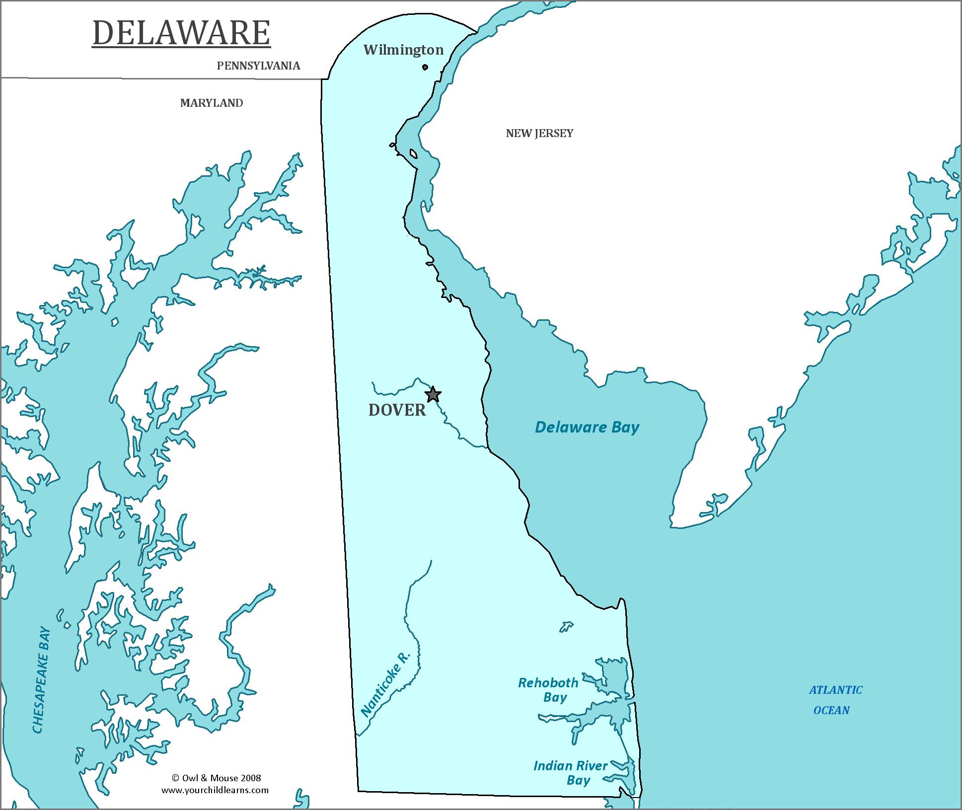 Deleware Map on