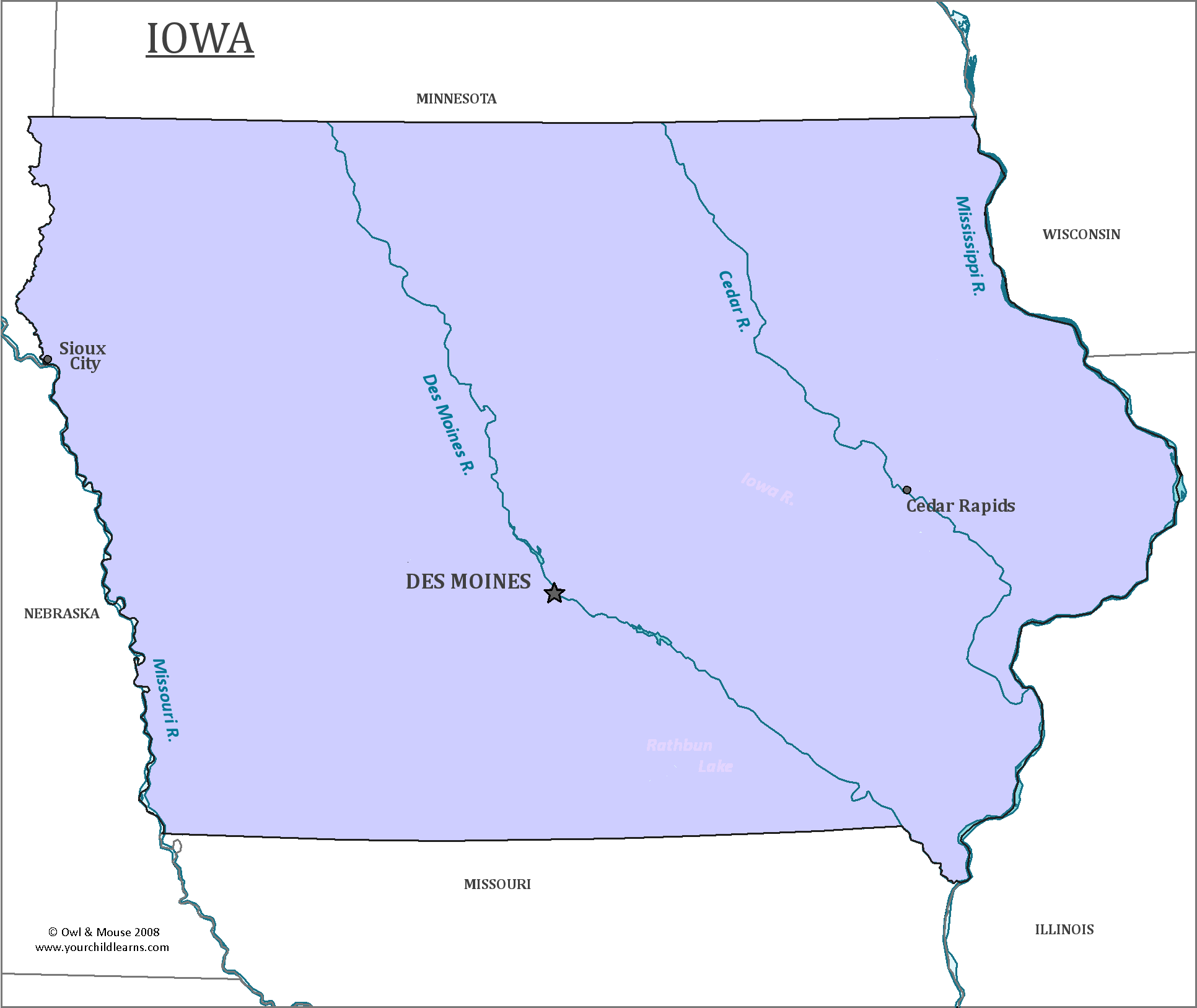 Iowa State Map Map Of Iowa And Information About The State - Map of iowa