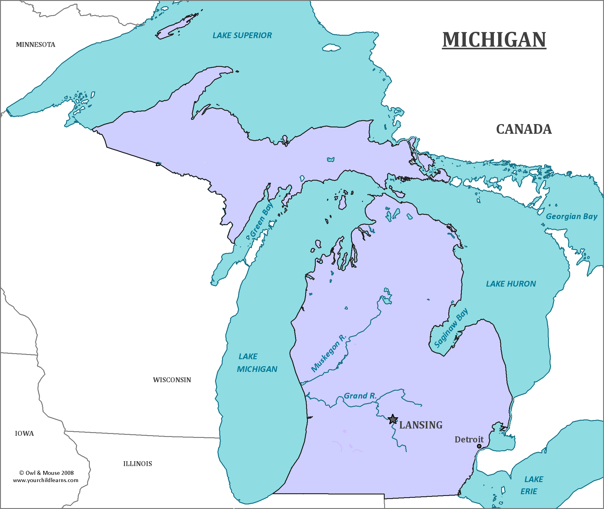 Michigan State Map Map Of Michigan And Information About The State - State map of michigan