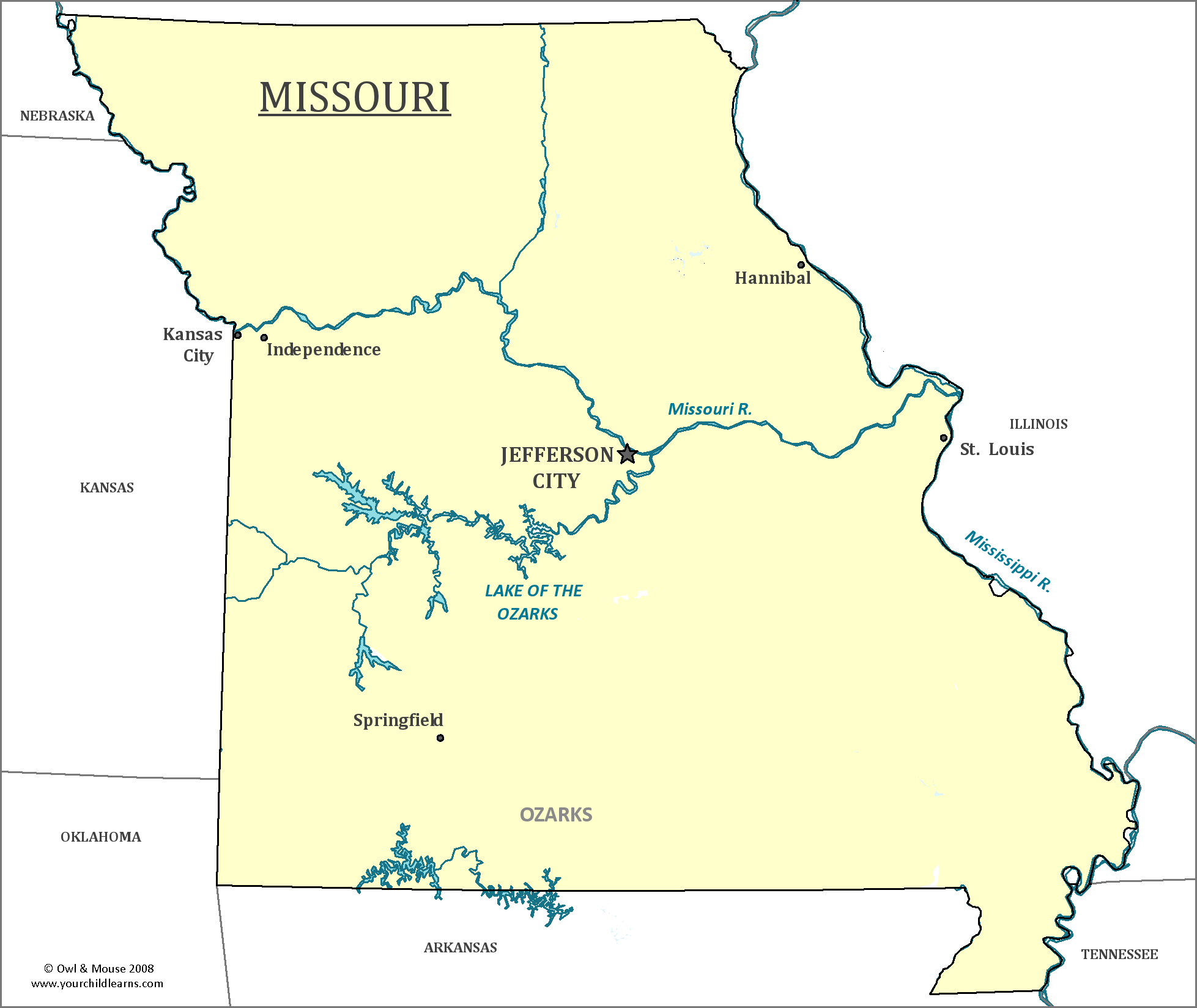 Missouri State Map Map Of Missouri And Information About The State - Missouri state map with cities