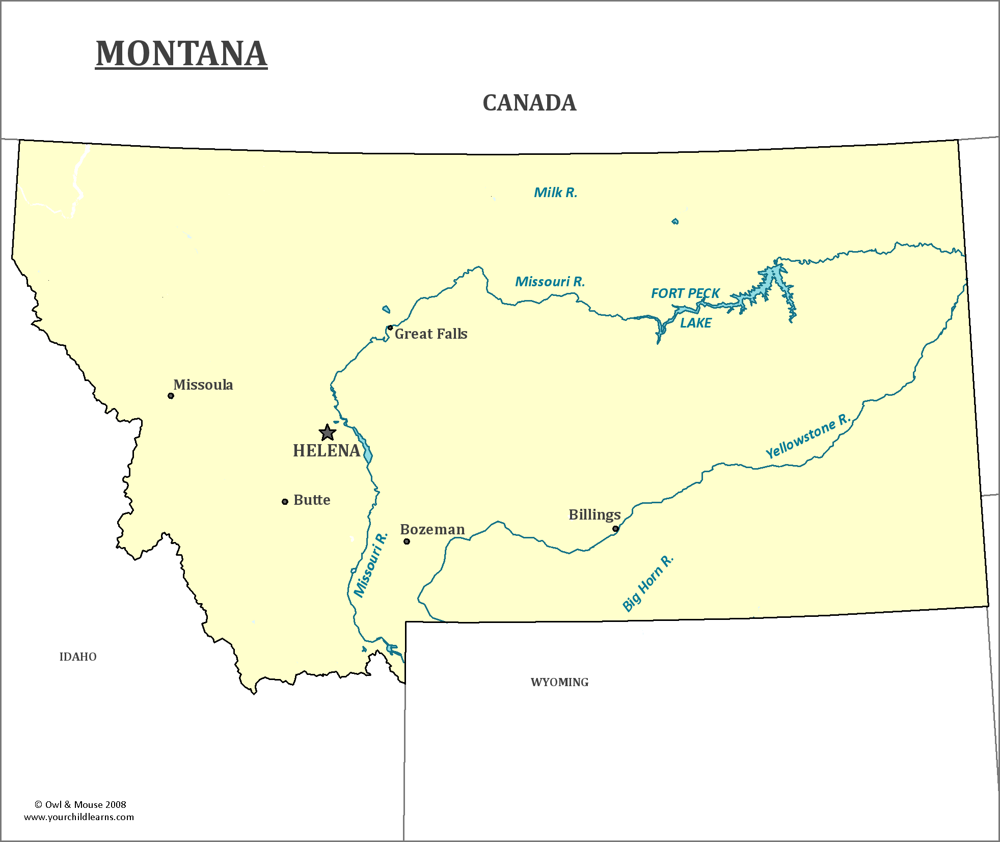 Montana State Map - Map of Montana and Information About the State
