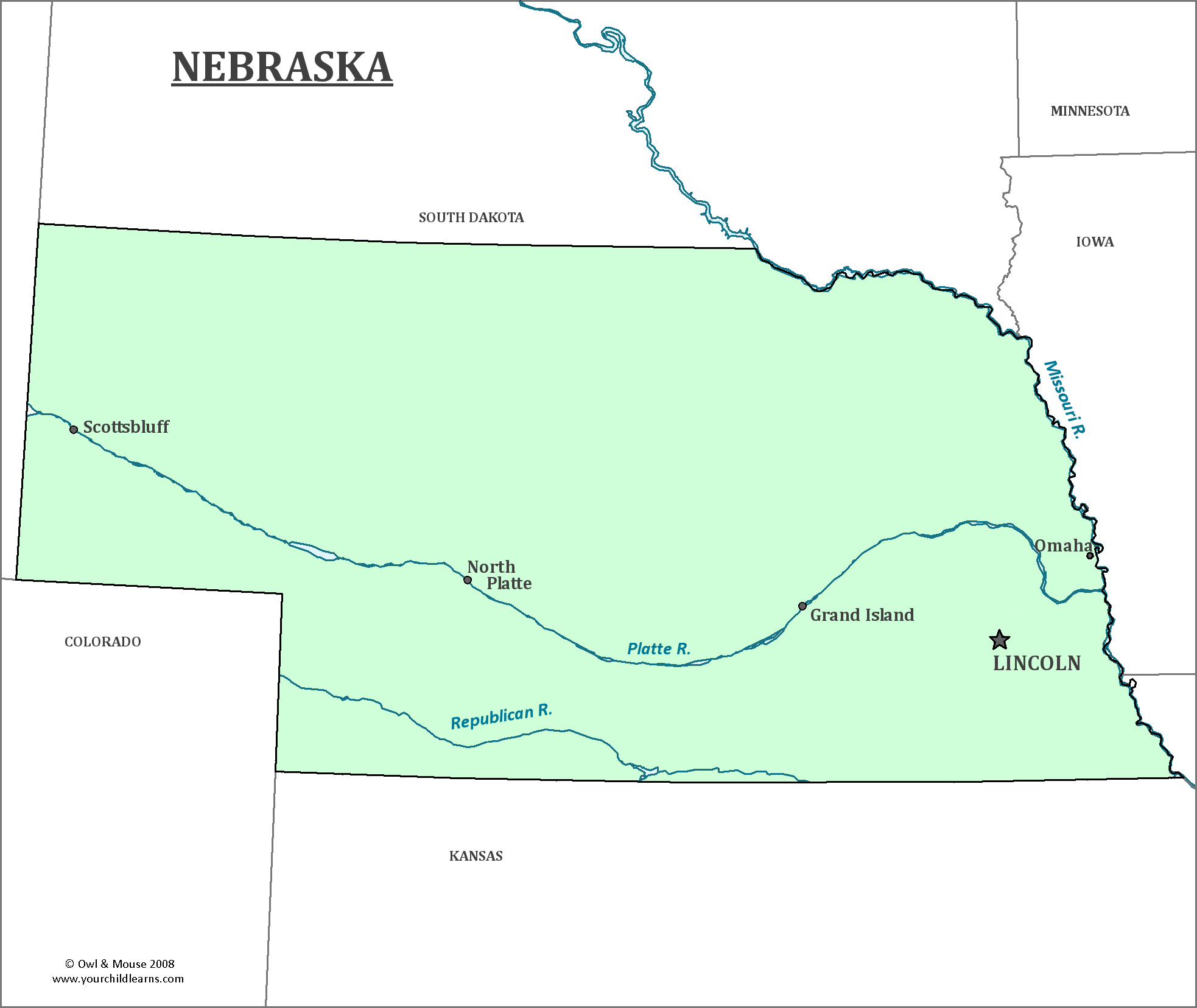 Nebraska State Map Map Of Nebraska And Information About The State - State map of nebraska