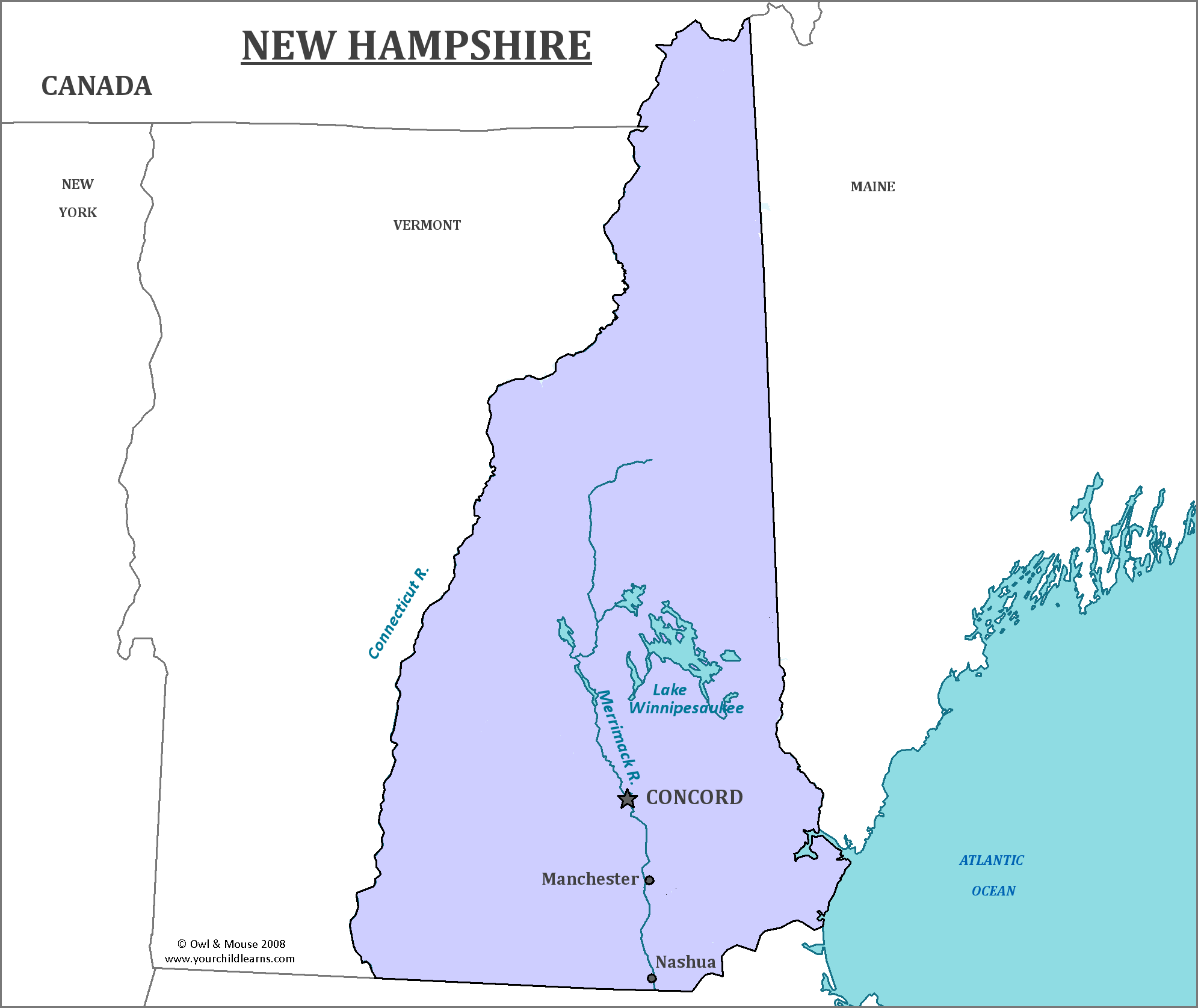 New Hampshire State Map - Map of New Hampshire and Information About ...