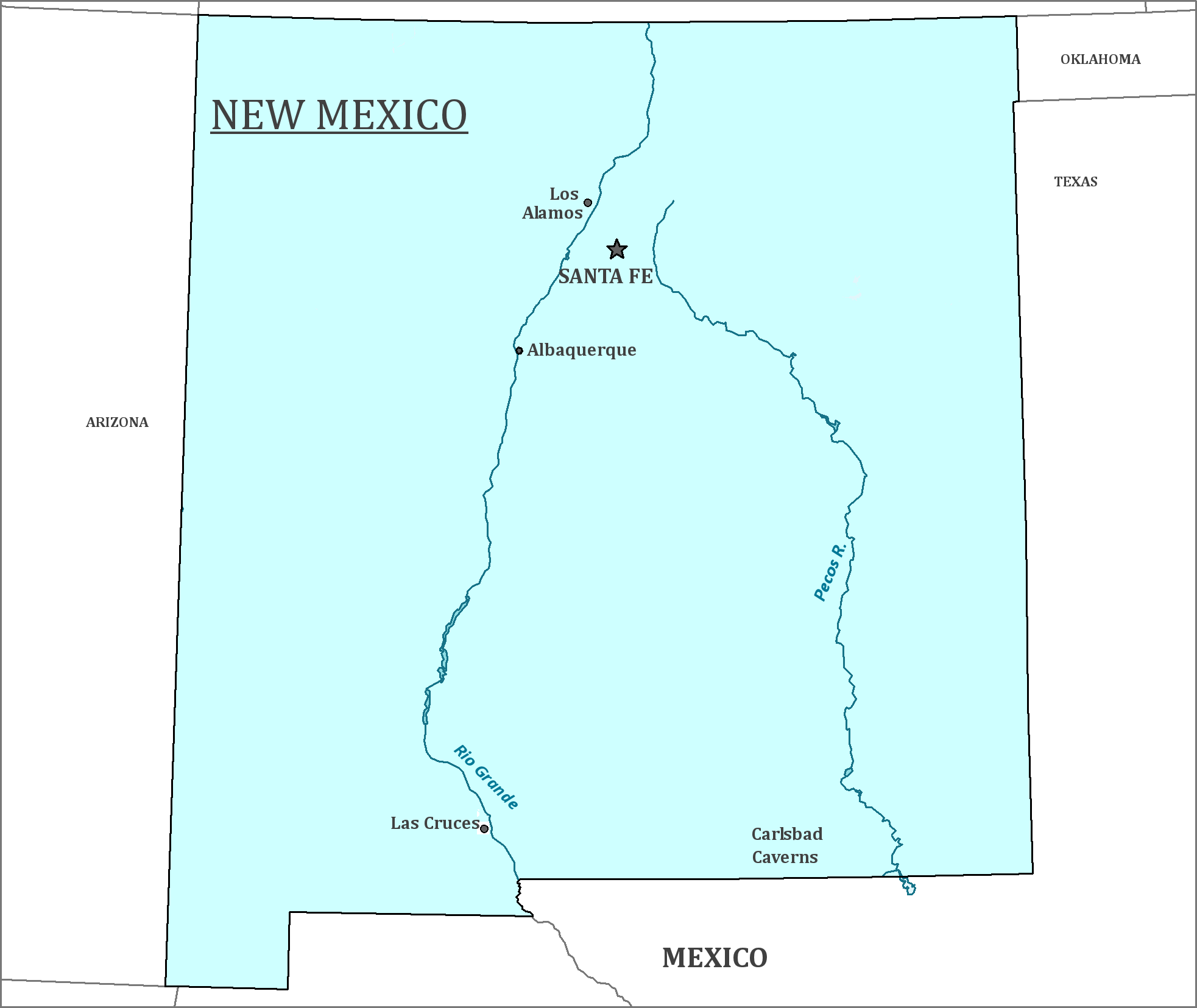 New Mexico State Map Map Of New Mexico And Information About The - New mexico map with cities
