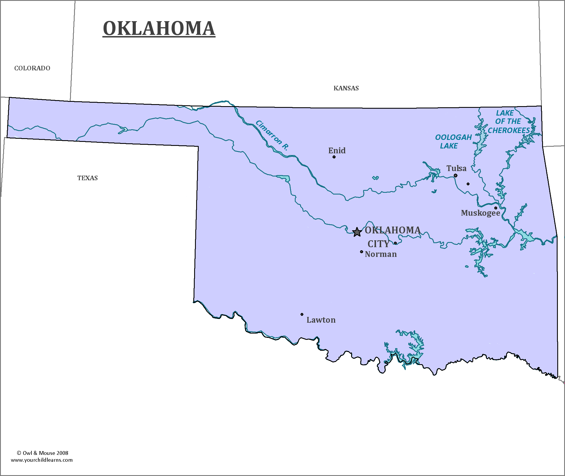 State Map Of Kansas And Oklahoma.Oklahoma State Map Map Of Oklahoma And Information About The State
