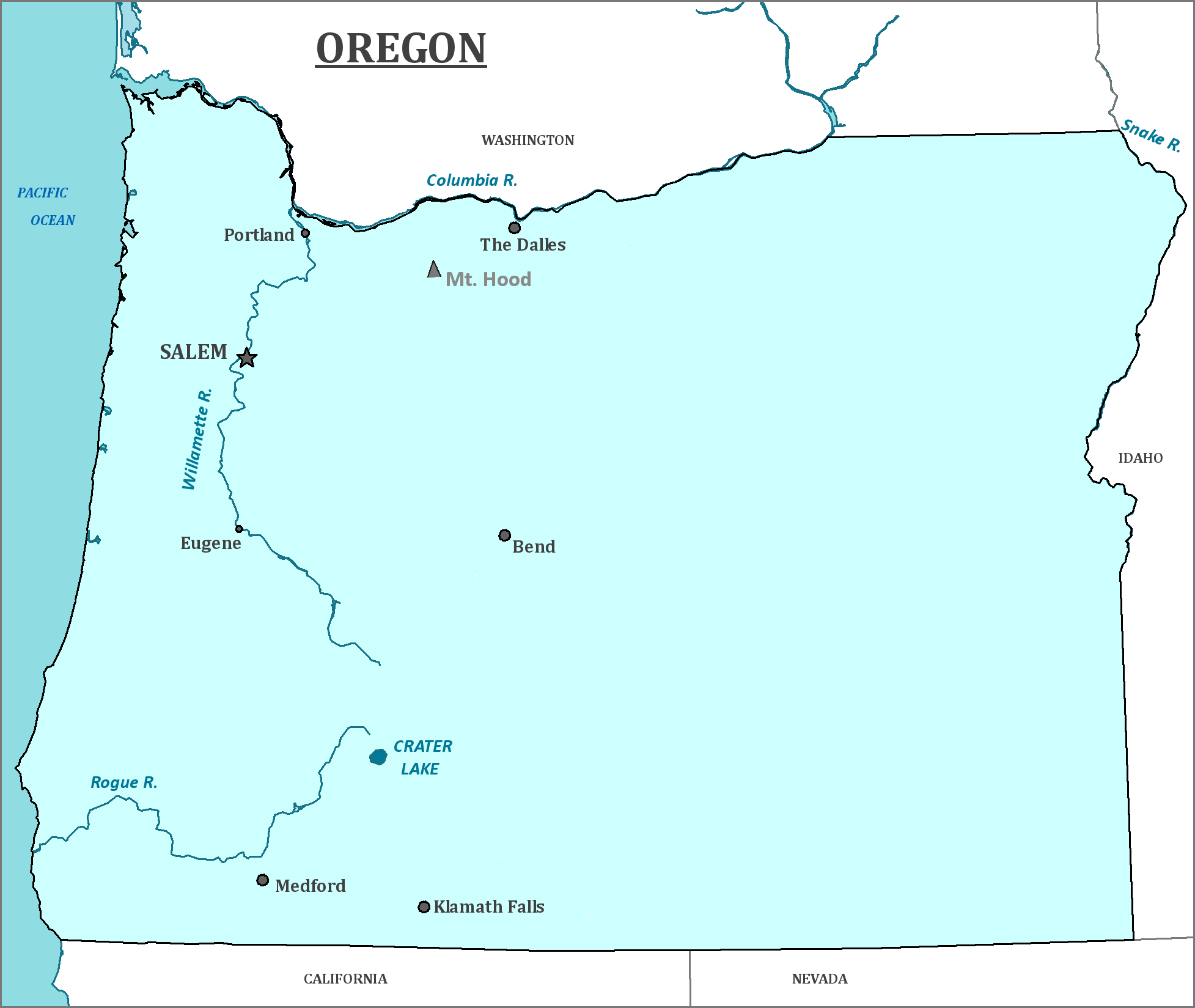 Oregon State Map - Map of Oregon and Information About the State