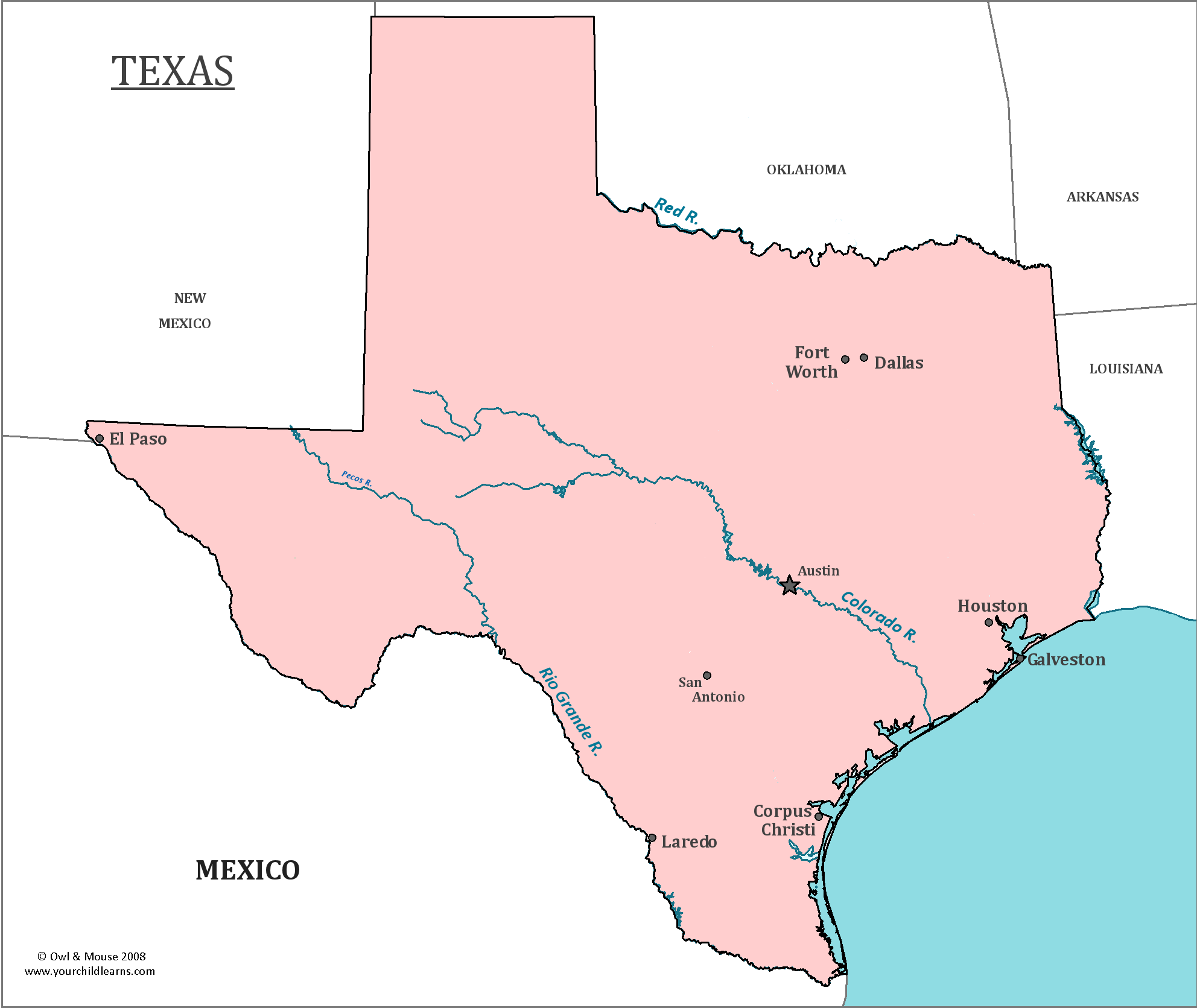 Texas State Map - Map of Texas and Information About the State