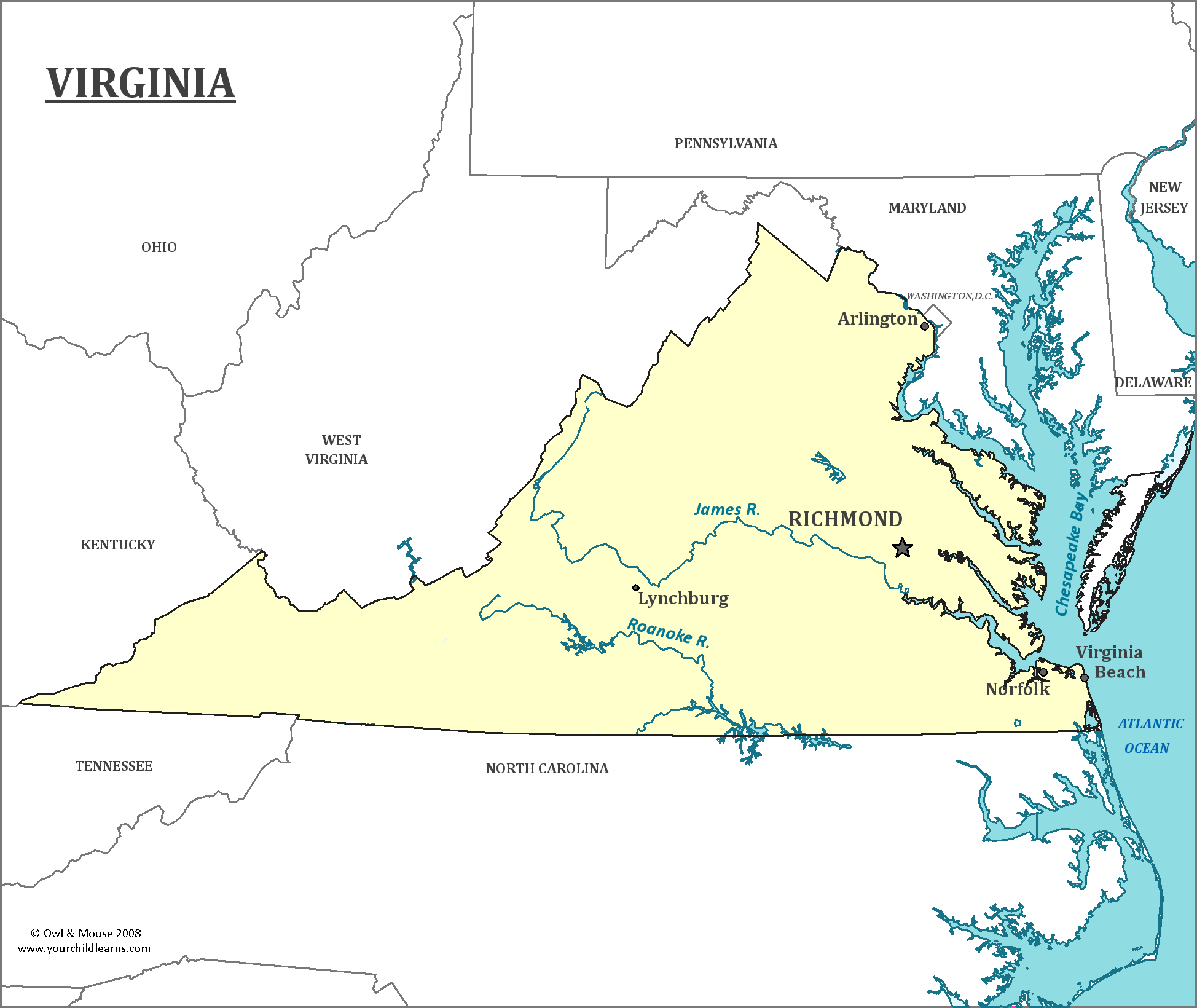 Virginia State Map Map Of Virginia And Information About The State - State map of va