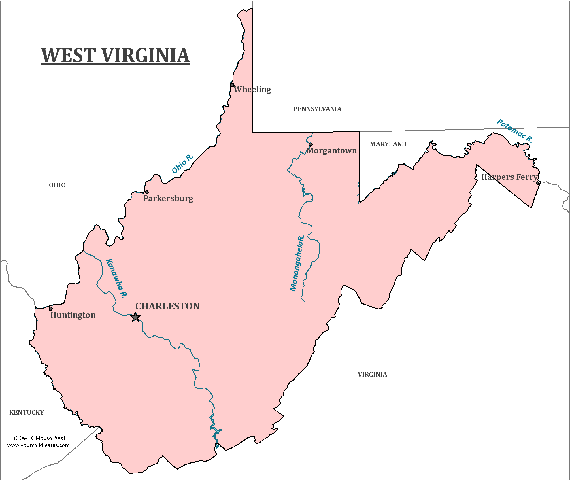 West Virginia State Map Map Of West Virginia And Information - State of west virginia map