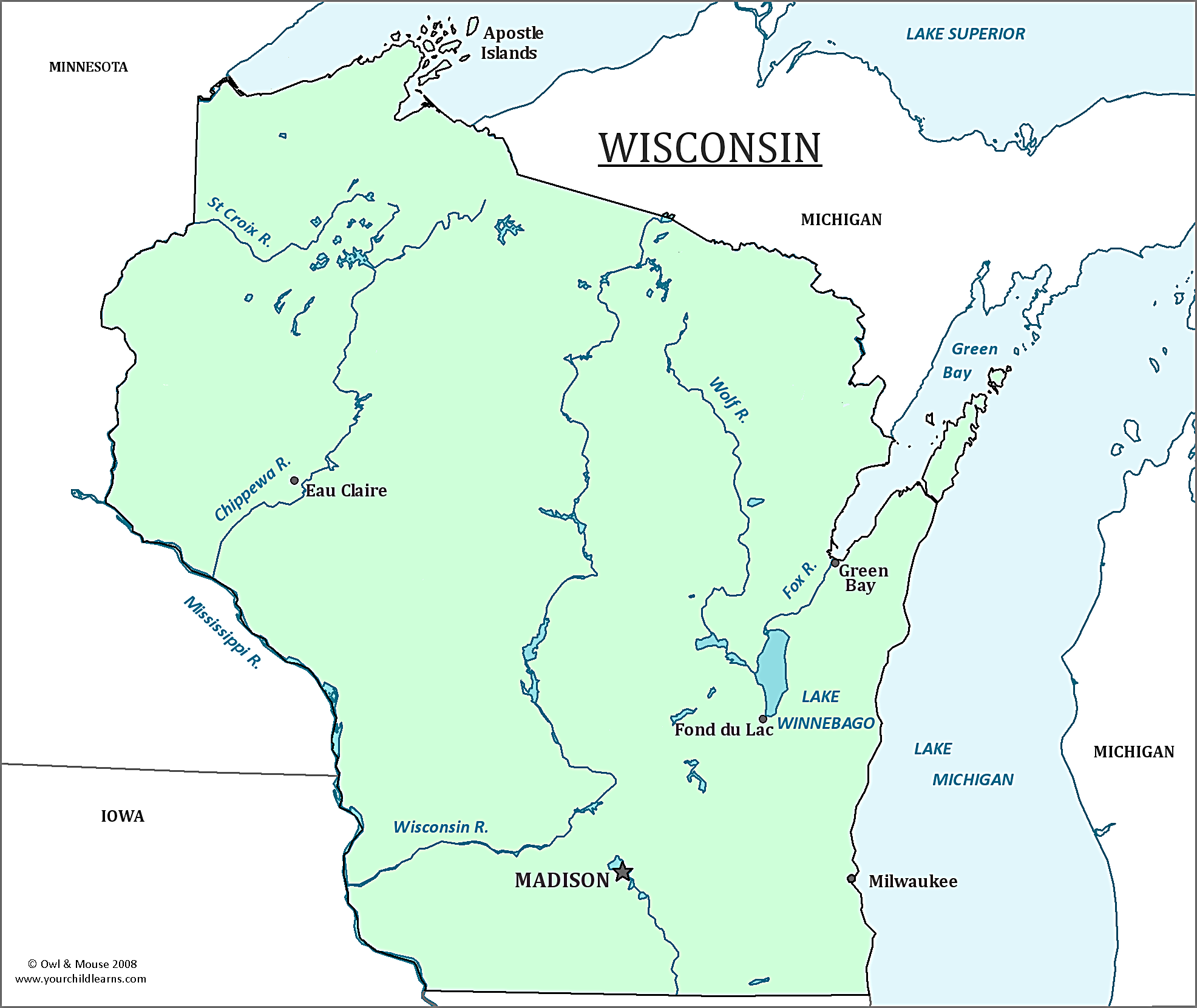 Wisconsin State Map Map Of Wisconsin And Information About The State - Map of wisconsin with cities