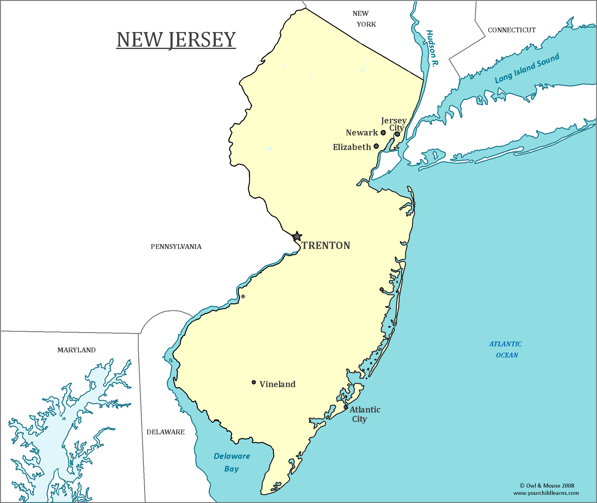New Jersey State Map New Jersey State Map   Map of New Jersey and Information About the